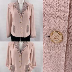 St John pink jacket blazer top enamel logo buttons